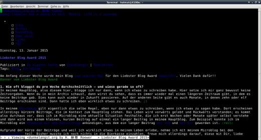 Dies ist ein Screenshot von dieser Blog Publizierung geöffnet im w3m-Browser