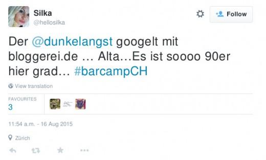 Der @dunkelangst googelt mit bloggerei.de … Alta…Es ist soooo 90er hier grad… #barcampCH